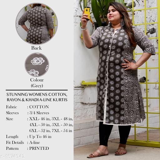 Divena Women's Cotton Floral Printed High- Slit Kurti