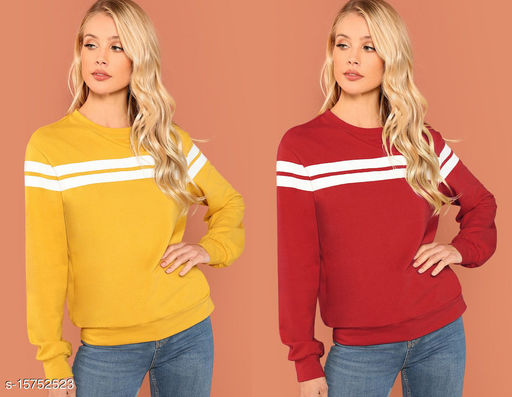 Mustured and Red Pullover Combo of 2
