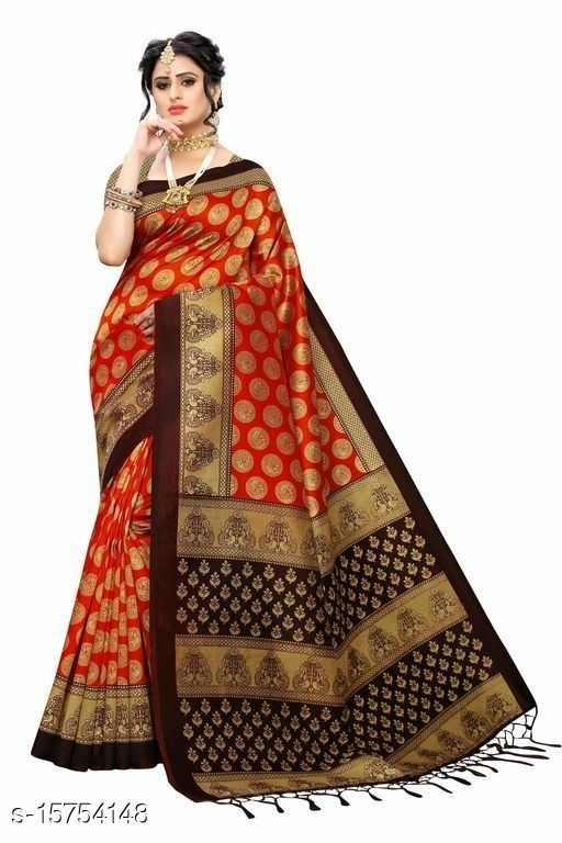 Pretty Heavy Printed Art Silk Saree
