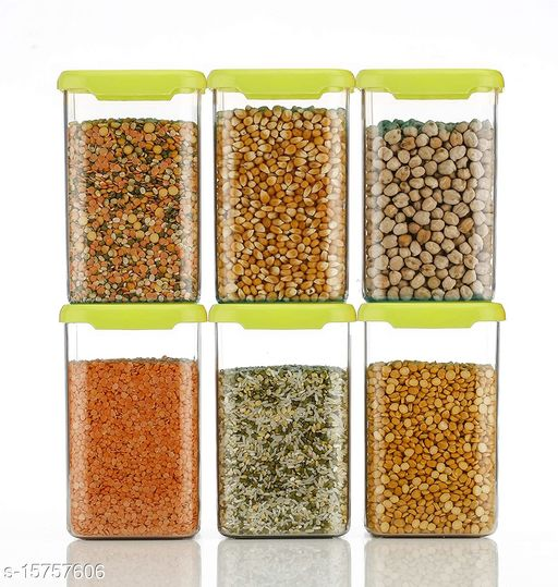 Frekich Cereal Dispenser Easy Flow Storage Jar 1100 ml, Idle for Kitchen- Storage Box Lid Food Rice Pasta Pulses Container, Square Containers for Kitchen Set of 6 Green Color