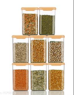 Orange color Storage Containers Plastic Kitchen Storage Jars and Container Set, Kitchen Storage Container, Jar Set for Kitchen, Kitchen Storage Jars, Fridge Storage Containers (1100 ML, 08Pc)