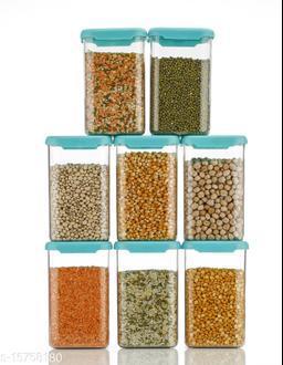 Blue color Storage Containers Plastic Kitchen Storage Jars and Container Set, Kitchen Storage Container, Jar Set for Kitchen, Kitchen Storage Jars, Fridge Storage Containers (1100 ML, 08Pc)