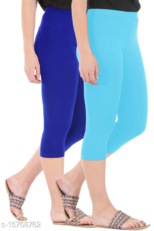 Pure Fashion Combo Pack of 2 Skinny Fit 3/4 Capris Leggings for Women  Royal Blue Sky Blue