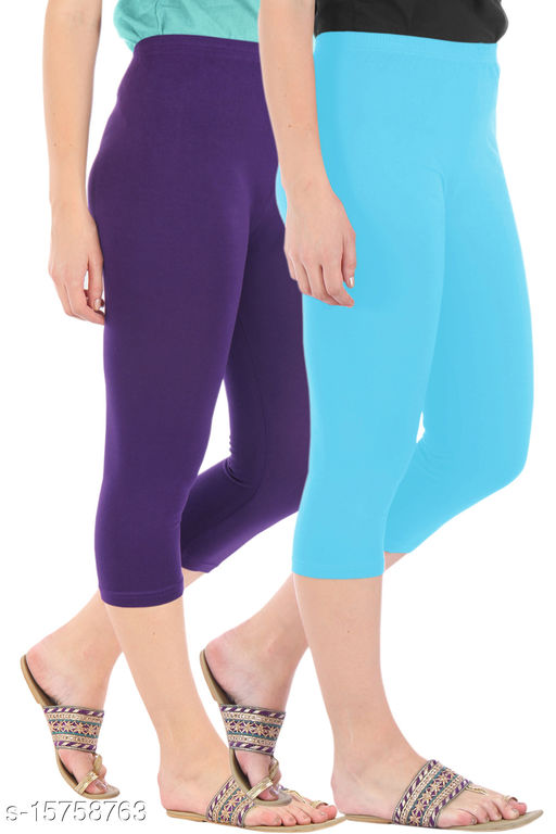 Pure Fashion Combo Pack of 2 Skinny Fit 3/4 Capris Leggings for Women  Purple Sky Blue