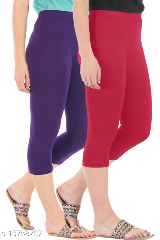 Pure Fashion Combo Pack of 2 Skinny Fit 3/4 Capris Leggings for Women  Purple Tomato Red