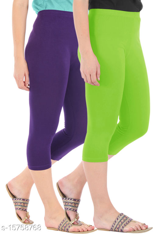 Pure Fashion Combo Pack of 2 Skinny Fit 3/4 Capris Leggings for Women  Purple Merin Green