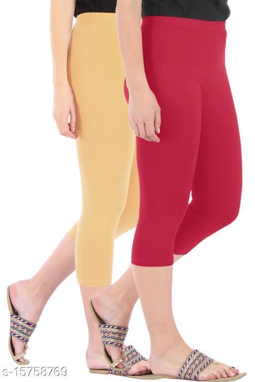 Pure Fashion Combo Pack of 2 Skinny Fit 3/4 Capris Leggings for Women  Dark Skin Tomato Red