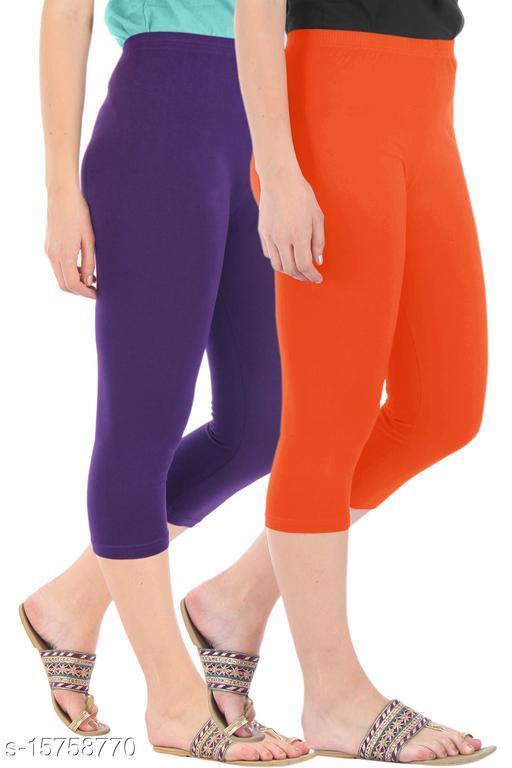 Pure Fashion Combo Pack of 2 Skinny Fit 3/4 Capris Leggings for Women  Purple Flame Orange