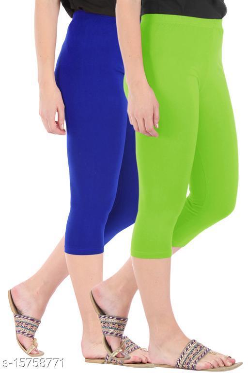 Pure Fashion Combo Pack of 2 Skinny Fit 3/4 Capris Leggings for Women  Royal Blue Merin Green