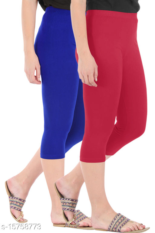 Pure Fashion Combo Pack of 2 Skinny Fit 3/4 Capris Leggings for Women  Royal Blue Tomato Red