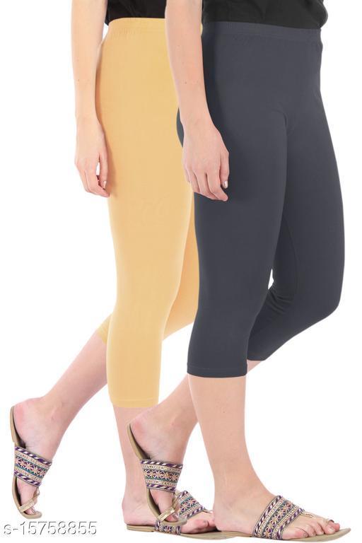Pure Fashion Combo Pack of 2 Skinny Fit 3/4 Capris Leggings for Women  Dark Skin Grey