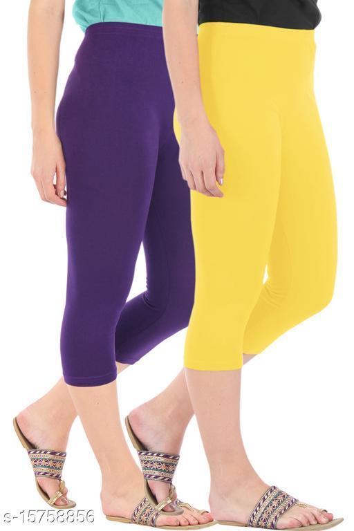 Pure Fashion Combo Pack of 2 Skinny Fit 3/4 Capris Leggings for Women  Purple Lemon Yellow