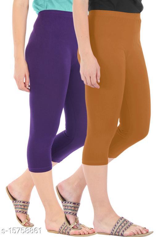 Pure Fashion Combo Pack of 2 Skinny Fit 3/4 Capris Leggings for Women  Purple Khaki