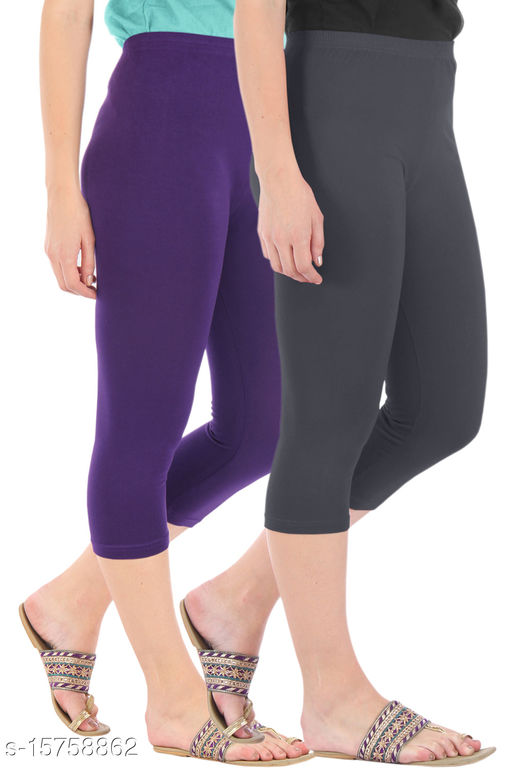 Pure Fashion Combo Pack of 2 Skinny Fit 3/4 Capris Leggings for Women  Purple Grey