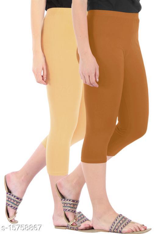 Pure Fashion Combo Pack of 2 Skinny Fit 3/4 Capris Leggings for Women  Dark Skin Khaki
