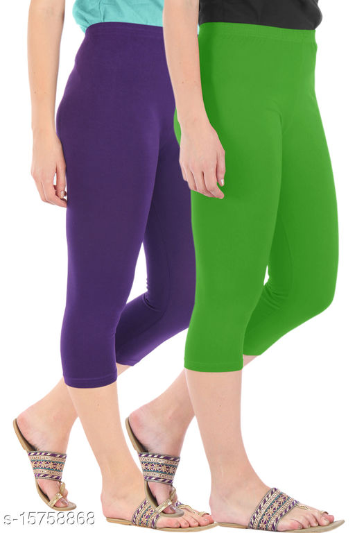 Pure Fashion Combo Pack of 2 Skinny Fit 3/4 Capris Leggings for Women  Purple Parrot Green
