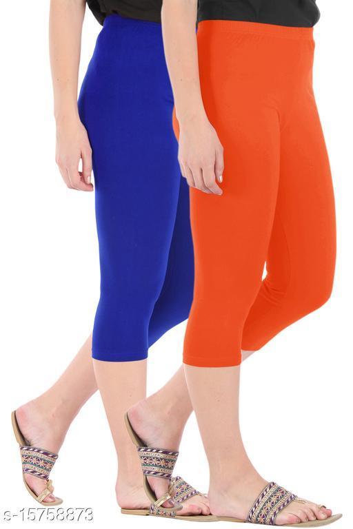 Pure Fashion Combo Pack of 2 Skinny Fit 3/4 Capris Leggings for Women  Royal Blue Flame Orange