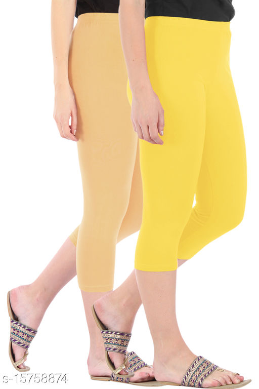 Pure Fashion Combo Pack of 2 Skinny Fit 3/4 Capris Leggings for Women  Dark Skin Lemon Yellow
