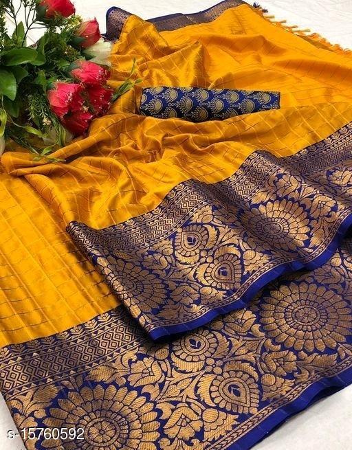Checkered Fashion Jacquard, Cotton Silk Saree(Yellow , Blue)