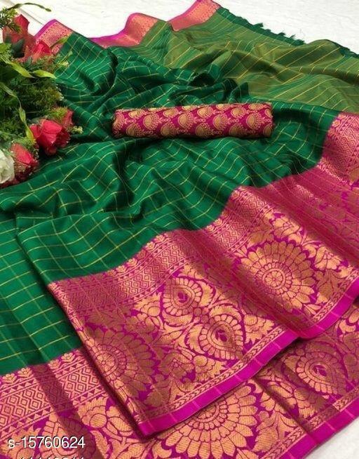 Checkered Fashion Jacquard, Cotton Silk Saree( Green , Pink )