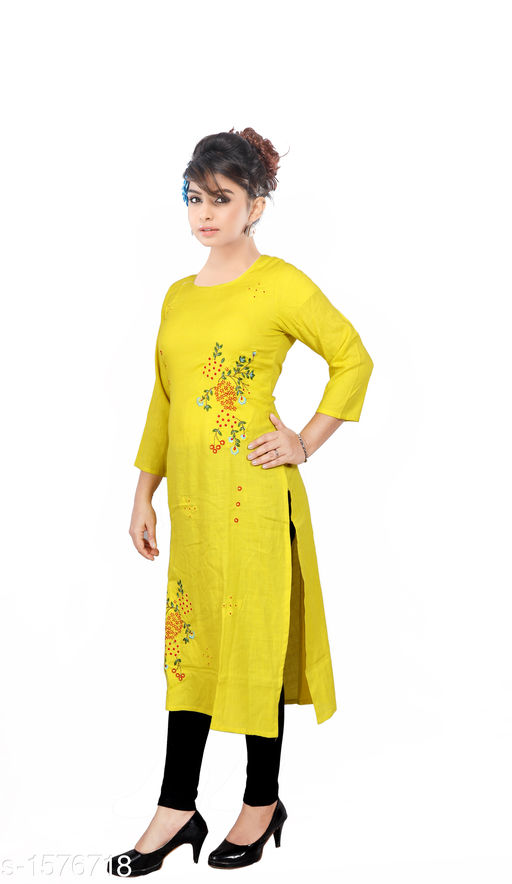 Kurtis & Kurtas Women Embroidered Rayon Kurti  *Fabric* Rayon  *Sleeves* Sleeves Are Included  *Size* M - 38 in, L - 40 in, XL - 42 in, XXL - 44 in  *Length* Up To 46 in  *Type* Stitched  *Description* It Has 1 Piece Of  Women's Kurti  *Work* Embroidered  *Sizes Available* M, L, XL, XXL   Catalog Rating: ★3.9 (1203) Supplier Rating: ★4 (4676) SKU: 3-1_copy Shipping charges: Rs1 (Non-refundable) Pkt. Weight Range: 350  Catalog Name: Women's Embroidered Rayon Kurtis - SRE Ethnic Code: 373-1576718--574