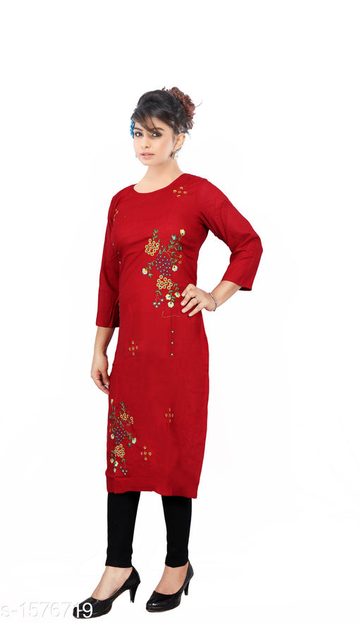 Kurtis & Kurtas Women Embroidered Rayon Kurti  *Fabric* Rayon  *Sleeves* Sleeves Are Included  *Size* M - 38 in, L - 40 in, XL - 42 in, XXL - 44 in  *Length* Up To 46 in  *Type* Stitched  *Description* It Has 1 Piece Of  Women's Kurti  *Work* Embroidered  *Sizes Available* M, L, XL, XXL   Catalog Rating: ★3.9 (1203) Supplier Rating: ★4 (4676) SKU: 4-1_copy  Shipping charges: Rs1 (Non-refundable) Pkt. Weight Range: 350  Catalog Name: Women's Embroidered Rayon Kurtis - SRE Ethnic Code: 373-1576719--574