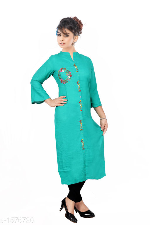 Kurtis & Kurtas Women Embroidered Rayon Kurti  *Fabric* Rayon  *Sleeves* Sleeves Are Included  *Size* M - 38 in, L - 40 in, XL - 42 in, XXL - 44 in  *Length* Up To 46 in  *Type* Stitched  *Description* It Has 1 Piece Of  Women's Kurti  *Work* Embroidered  *Sizes Available* M, L, XL, XXL   Catalog Rating: ★3.9 (1203) Supplier Rating: ★4 (4676) SKU: 5-1_copy  Shipping charges: Rs1 (Non-refundable) Pkt. Weight Range: 350  Catalog Name: Women's Embroidered Rayon Kurtis - SRE Ethnic Code: 563-1576720--764