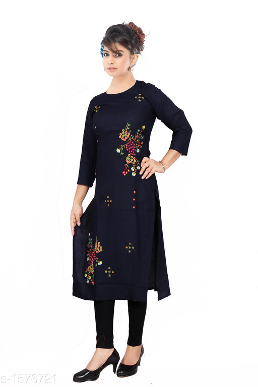 Kurtis & Kurtas Women Embroidered Rayon Kurti  *Fabric* Rayon  *Sleeves* Sleeves Are Included  *Size* M - 38 in, L - 40 in, XL - 42 in, XXL - 44 in  *Length* Up To 46 in  *Type* Stitched  *Description* It Has 1 Piece Of  Women's Kurti  *Work* Embroidered  *Sizes Available* M, L, XL, XXL   Catalog Rating: ★3.9 (1203) Supplier Rating: ★4 (4676) SKU: 19-1_copy  Shipping charges: Rs1 (Non-refundable) Pkt. Weight Range: 350  Catalog Name: Women's Embroidered Rayon Kurtis - SRE Ethnic Code: 373-1576721--574