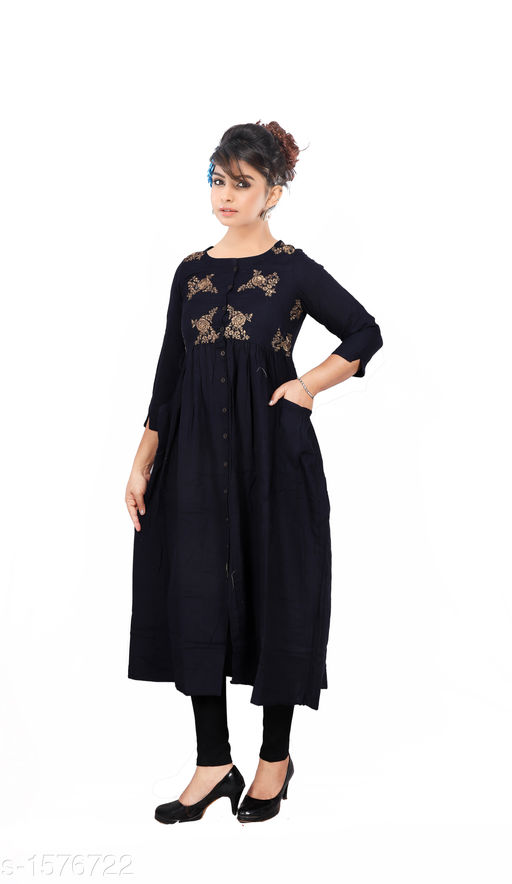Kurtis & Kurtas Women Embroidered Rayon Kurti  *Fabric* Rayon  *Sleeves* Sleeves Are Included  *Size* M - 38 in, L - 40 in, XL - 42 in, XXL - 44 in  *Length* Up To 46 in  *Type* Stitched  *Description* It Has 1 Piece Of  Women's Kurti  *Work* Embroidered  *Sizes Available* M, L, XL, XXL   Catalog Rating: ★3.9 (1203) Supplier Rating: ★4 (4676) SKU: 20-1_copy  Shipping charges: Rs1 (Non-refundable) Pkt. Weight Range: 350  Catalog Name: Women's Embroidered Rayon Kurtis - SRE Ethnic Code: 373-1576722--574