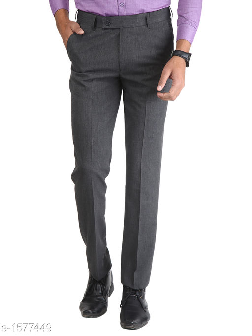 Men's Stylish Poly Viscose Solid Trouser
