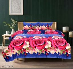 RHcreation 145 TC 3D Printed Polycotton Double Bedsheet with 2 Matching Pillow Covers (Multicolour, 90 inches X 90 Inches)