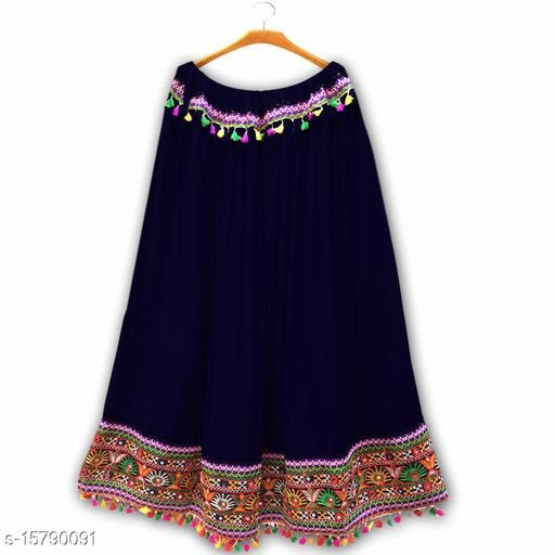 VR Creations Women Ethnic Gujrati Embroidered Border Cotton Rayon Long Skirt Navy Blue