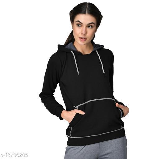 GENSHI Women Full Solid Hooded Sweatshirt
