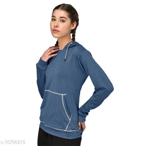 GENSHI Women Solid Hooded Pullover Sweatshirt