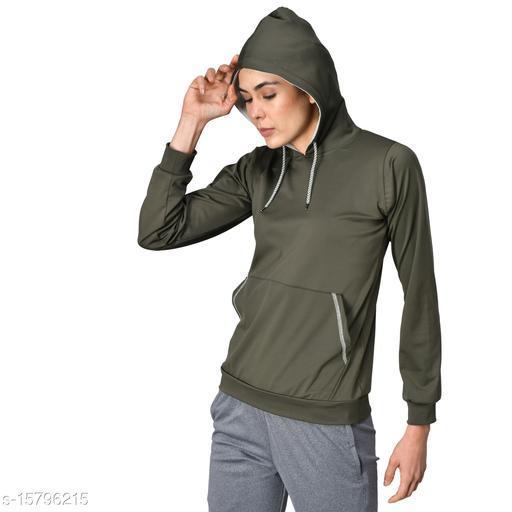 GENSHI Women Full Sleeves Solid Hooded Sweatshirt