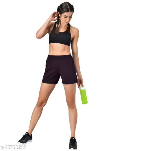 Women Polyester Plain Sports Training Shorts Designed for all Fitness Activities