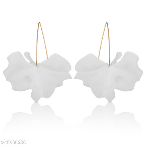 Vembley White Flower Power Drop Earring
