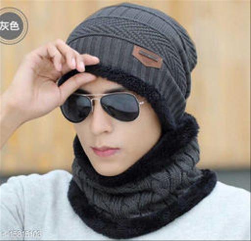 FASHLOOK DARK GREY BALKALOVA CAP FOR MEN