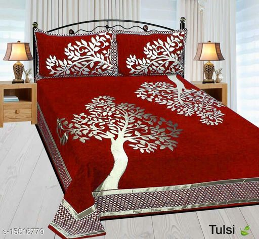 HomeStore-YEP Chennile Bedsheet with 2 Pillow Covers For Double Bed Size 90x100 Inches Maroon