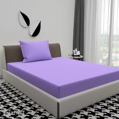 Solid Color Embossed Single Bedsheet with Stripes