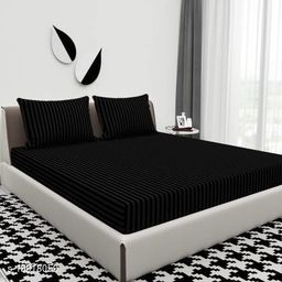 Solid Color Embossed Double Bedsheet with Stripes