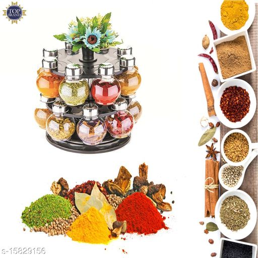 Niebla Spice Rack/Jar/Container 360 Degree Revolving of 16 pc for Storage of Kitchen Spices and Masala Storage (Black)