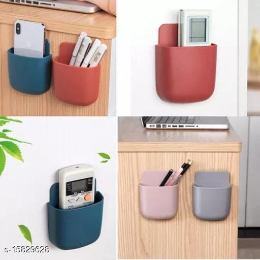 Wall Mounted Storage Case for Remote, Toothbrush, Mobile Phone Plug Holder ( 4 Pcs - Set, Random Color )