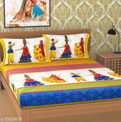 Jaipuri Printed Double Bedsheet With 2 Pillow covers