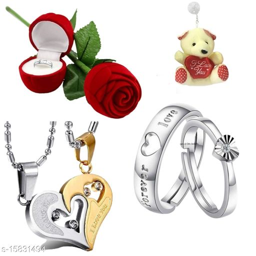 Valentines Collection Rhodium Platted Jewellery Combo of Dual Love Heart Pendant and Proposal Love Forever Couple Ring with Erose Box and Teddy for Men and Women CO1000299BxTd