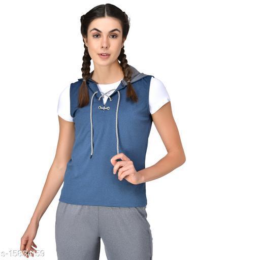 GENSHI Women SleevelessLace Up Hooded Pullover Sweatshirt