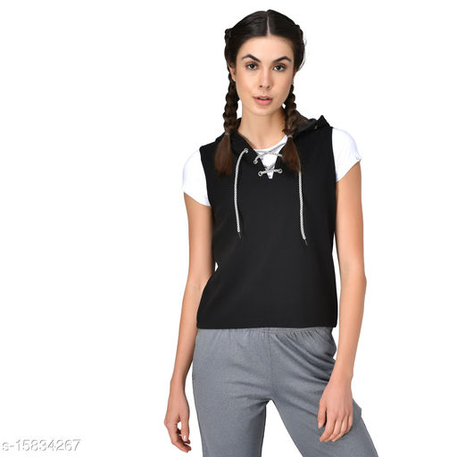 GENSHI Women Sleeveless Neck Lace Up Hooded Sweatshirt
