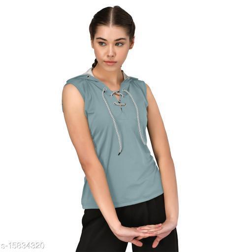 GENSHI Women Sleeveless Solid Neck Lace Up Hooded Sweatshirt