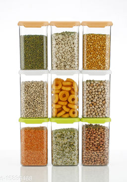 (NATIONAL FLAG COLOUR) 9Pcs, Cereal Dispenser Easy Flow Storage Jar 1100 ml, Idle for Kitchen- Storage Box Lid Food Rice Pasta Pulses Container, Square Containers for Kitchen (Set of 9)