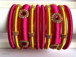 Trendy Plastic & Silk Thread Bangles